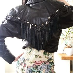 Buttersoft black leather crop jacket with fringe